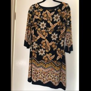 EnFocus Petite Navy and Gold Patterned Dress